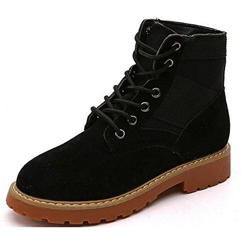 HSXZ botas botas Zapatos Yellow casual comodidad plano botas primavera otoño mujer Mid Amarillo PU Calf de for tacón Negro de combatir zz4dqrw8R