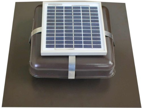 Solar Roof Vent - Solar Attic Fan - Solar RVOblaster with Brown Vent (Fan Roof Sun Black)