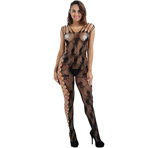 Challyhope Women Sexy Lingerie Babydoll Fishnet Floral Crotchless Bodysuits Nightwear (Black, - Policy Returns