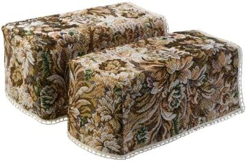 Decorative Floral Castles Tapestry Pair of Arm Caps with Cotton Trim Sofa Furniture Cover Antimacassar