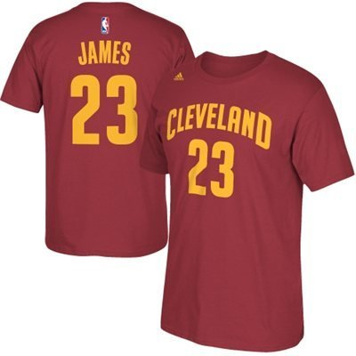Lebron James Cleveland Cavaliers Garnet Jersey Name and Number T-shirt X-Large