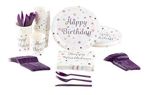 Disposable Dinnerware Set - Serves 24 - Happy Birthday Party Supplies, Includes Plastic Knives, Spoons, Forks, Paper Plates, Napkins, Cups