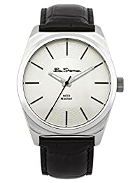 Ben Sherman Men's Black Leather Band Steel Case Quartz Silver-Tone Dial Analog Watch BS104