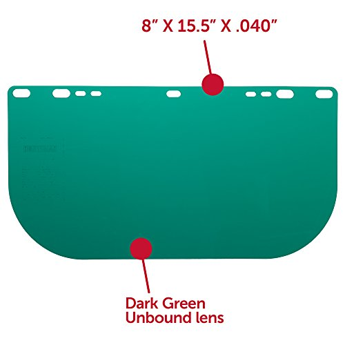 """Jackson Safety F20 High Impact Face Shield (29100), Polycarbonate, 8"""" x 15.5"""" x 0.04"""", Dark Green, Face Protection, Unbound, 36 Shields / Case by Jackson Safety (Image #2)"""