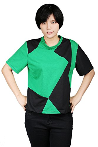 Shego T-shirt Cosplay Costume for Girls Cotton Green and Black L - Kim Possible Shego Halloween Costumes