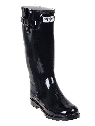 Stivali Da Pioggia, Donne Rainboots Impermeabili-collezione Giardino Solido (nero)