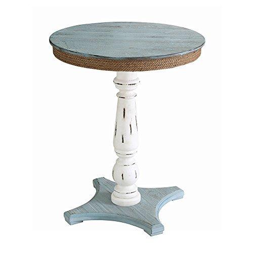Sea Isle Two Tone Rustic Coastal Wood and Rope Apron Accent Table