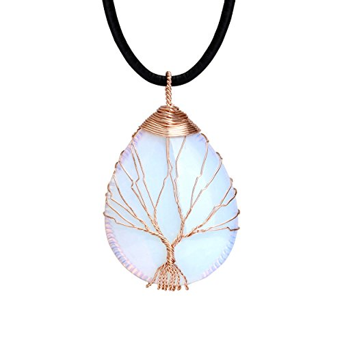 (POTESSA Tree of Life Teardrop Heart Pendant Necklace 14K Gold Plated Copper Wire Wrapped Handmade Choker 18