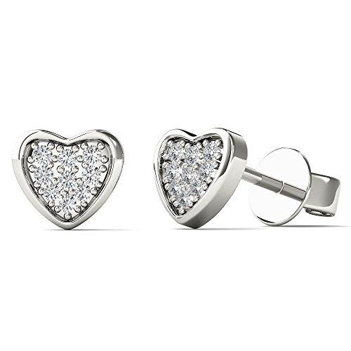 Diamond Earrings Big (JewelAngel Kids Big Girl's Diamond Accent Fashion Heart Stud Earrings (H-I, I1-I2) 10K White Gold)