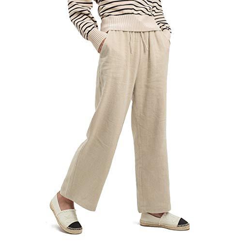 Ecupper Women's Elastic Waist Causal Loose Trousers Plus 100 Linen Cropped Wide Leg Pants Long Khaki 6