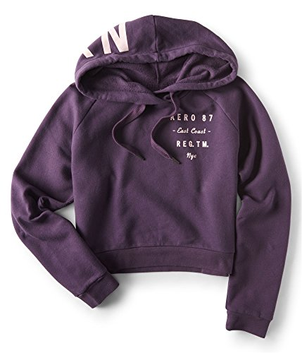 Aeropostale Womens Stacked Text Hoodie Sweatshirt Purple M - Juniors by Aeropostale