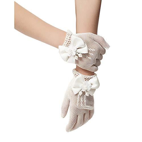 Unilove Flower Girl Gloves White Ivory Lace Short Princess Gloves for Wedding (White)