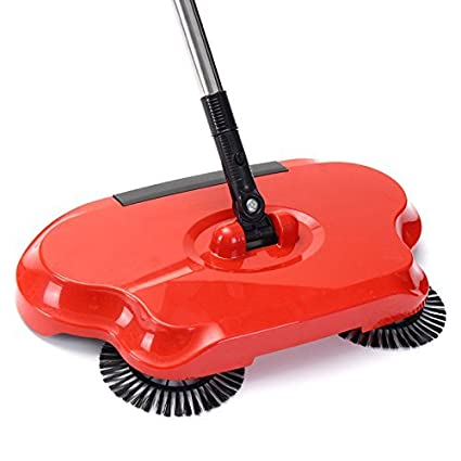 Latiq Magic Smart Multi Function Whirl Wind Auto Spin Hand Push Rotating Sweeper Hand Push Vacuum Floor Cleaner Automatic Dustpan Stainless Steel Broom Handle Cleaning Machine for Home, Offices etc (Colour May Vary)