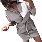 Colorful Dress Socks for Men,Women's Fashion Long Sleeve Autumn Casual Knotted Blouse Dress,Cocktail Dresses,Gray,XL
