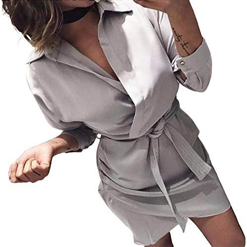 Larga de de Vestido Las la Ocasional la Blusa Moda la Gris de Manga Anudada de Mujeres w78qX