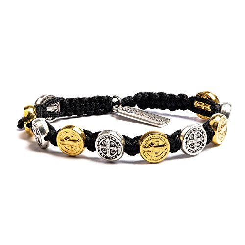 My Saint My Hero Benedictine Blessing Bracelet Mixed Medals/Black -