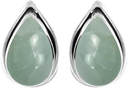 3.10ctw, 6x9mm Pear Genuine Gemstones & 925 Silver Plated Stud Earrings