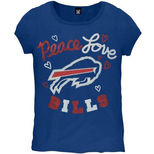Buffalo Bills - Girls Glitter Peace Love Logo Juvy T-shirt Juvy 6/7 Blue