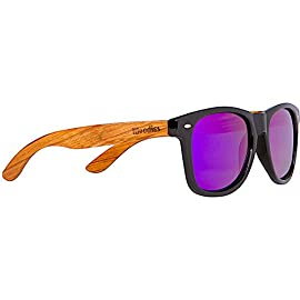 Woodies Zebra Wood Sunglasses with Mirror Polarized Lens for Men and Women 16 Handmade from REAL Zebra Wood (50% Lighter than Normal Sunglasses) Includes FREE Carrying Case, Lens Cloth, and Wood Guitar Pick Polarized Lenses Provide 100% UVA/UVB Protection