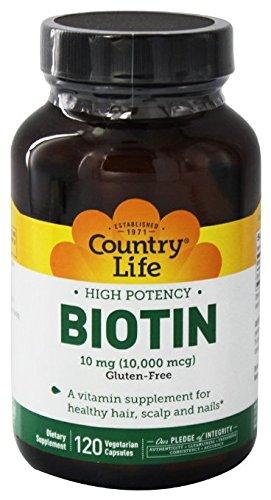 Country Life Biotin High Potency, 10 mg, Healthy Skin, Nails & Hair, Vitamin B7, 120 Count, Gluten-Free, non- GMO Capsules
