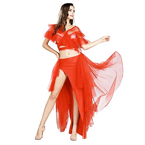 ROYAL SMEELA Belly Dance Costume for Women Belly Dancing Skirt Sexy Tops Belly Dancing Outfit Carnival Costumes Red -