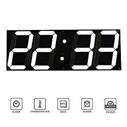 Aolvo 3D Digital Led Wall Clock, 17 X 6 Giant Oversize Atomic Home Wall Clock with Remote Control, Gym Wall Clock, Led Clock, Large Calendar, Minute Alarm Clock, Countdown Clock, Thermometer