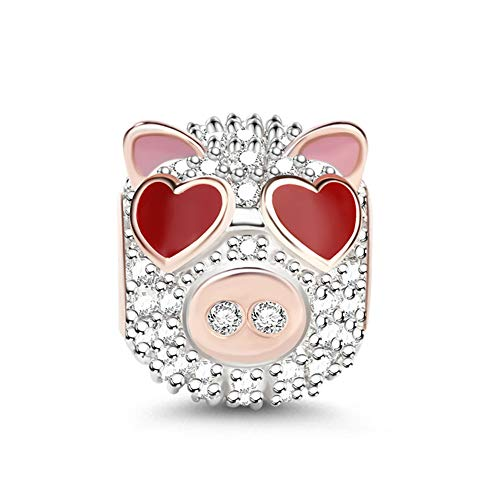 GNOCE Animal Charms Animal Head Theme Bead 925 Sterling Silver Pendant Fits Bracelet Necklace Women Men Girls Boys Gifts (Pig)