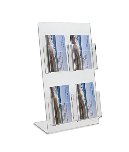 2 Clear Pockets - Source One Deluxe 2 Tier 4 Pocket Vertical Clear Business Card Holder - Counter Top