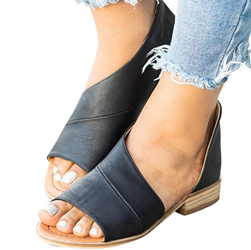 SNIDEL Womens Faux Leather Sandal Open Toe Flats Sip on Summer Casual Low Heels Shoes Black1 9 B (M) -