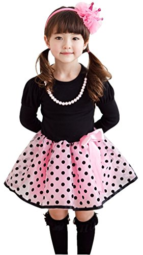 Baby Girls Princess Polka Dot Plaid Long Sleeve Party Formal Fancy Dress Pink 6