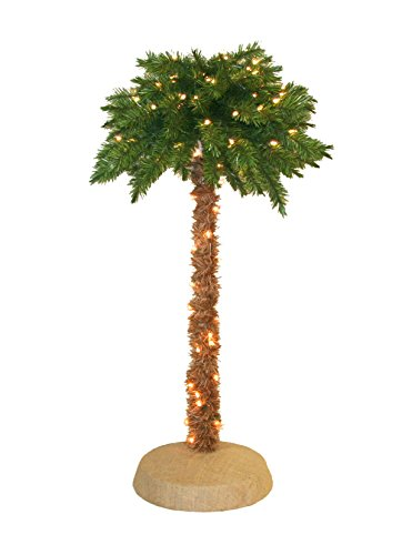 Pre-Lit Palm Tree, 4-Feet, 105 Clear Lights Un-lit Trees