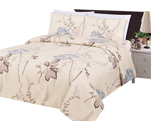 Bamboo Living Eco Friendly Egyptian Super Soft 3 Pieces Duvet Cover Set with 2 Pillow Shams, Blue Chrysanthemum Flower Pattern, Blue Ivory Color, Queen Size