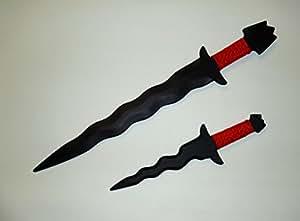 Philippine Kris Sword Training Filipino Knife Kali Blade Ronin set Combo Red