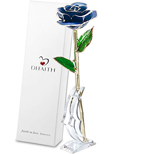 DEFAITH 24K Gold Dipped Real Rose Gifts, Best Wedding Anniversary Valentines Day Love Gift for Her Wife Girlfriend Spouse, Blue with Stand (Buying Gold And Silver From The Us Mint)