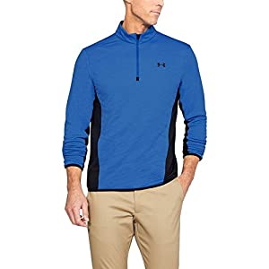 Under Armour Men's Cold Gear Reactor Hybrid 1/2 Zip Jacket, Mediterranean (437)/Black, Medium
