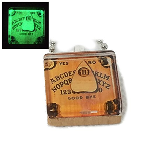 Dan's Collectibles and More Ouija Board Planchette Necklace Glow In The Dark Luminescent Pendant Ghost Spirit Haunted Planchette Halloween Witchcraft Goth Emo w/Gift Box by (Square) ()
