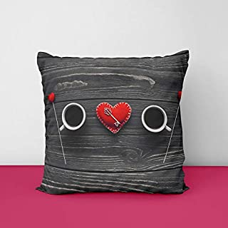 41cofLqp%2B L. SS320 Coffee Valentine's Day Creative Heart Keylock Square Design Printed Cushion Cover
