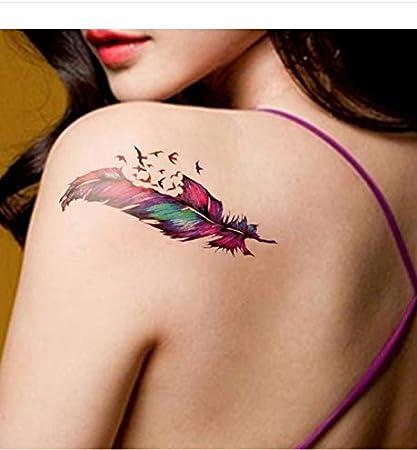 LFVGUIOP Tatuajes temporales -Color Original Volando Pluma pájaro ...