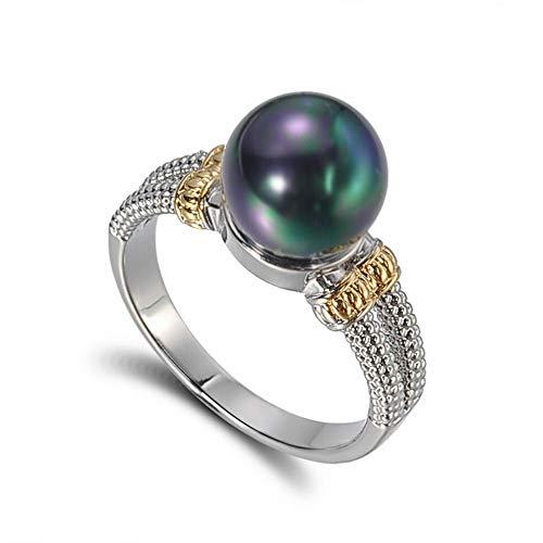 Wausa Fashion 925 Silver Jewelry Elegant Round Cut Black Pearl Women Wedding Ring Gift | Model RNG - 10452 | #6