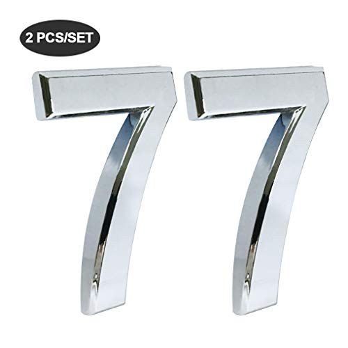 Mailbox Plaque (iMustech Mailbox Numbers, 2 Pcs/Set Solid Self-stick Number 7 for Mailbox, Door, Apartment, Hotel, 2-3/4 Inch, 3D Metal Silver)