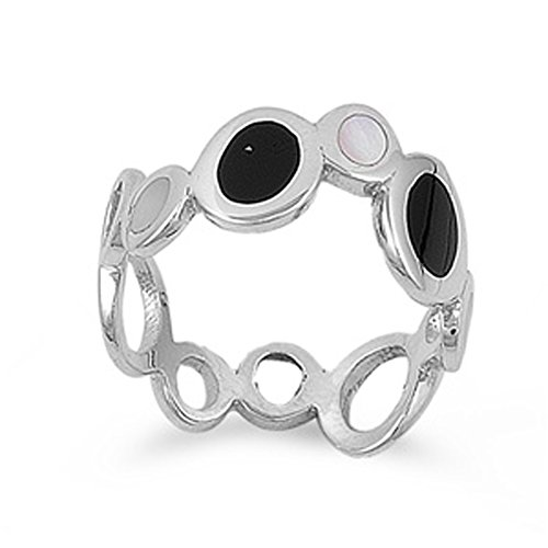 Polished Circle Cutout Unique Ring Sterling Silver Band Size 6 (Black Onyx Circle Ring)
