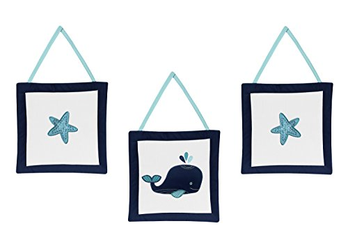 Sweet Jojo Designs Wall Hanging Decor Accessories for Blue Whale Collection (Jojo Hanging Designs Wall)