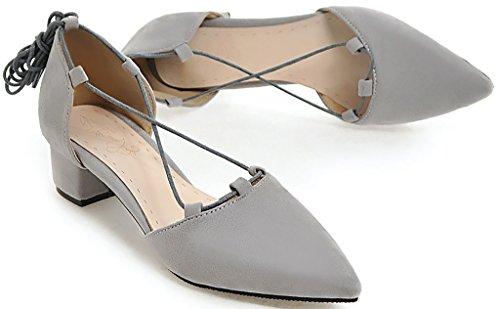 Lace Heel Block Sandals Salbu Women Grey Pointed Shoes up 4CM Calaier Toe xRU0Ywg7q
