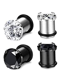 Fiasaso 2 Pairs Stainless Steel Ear Gauges CZ Plugs Tunnel Ear Expander Stretcher Piercing