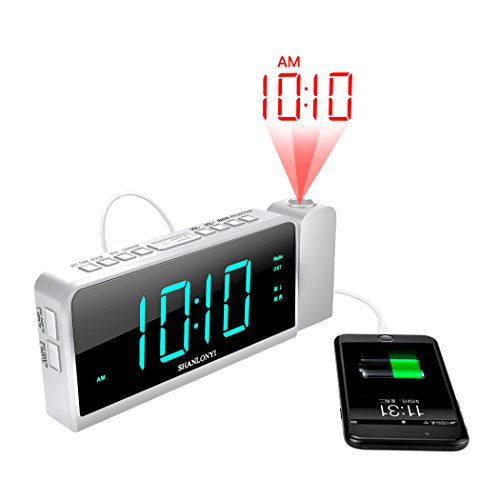 SHANLONYI Projection Alarm Clock Radio with AM/FM, Time Projector,USB Charging for Mobile Phone, Large 7 LED Display, Dual Alarm, Battery Backup