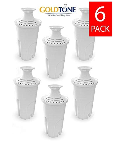 GoldTone Brand Charcoal Water Filters fits Brita and Mavea Water Pitchers. Replaces your Brita Charcoal Water Filter and Replacement Brita Water Filter (6 PACK)