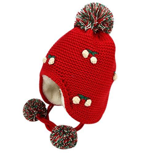 IMLECK Baby Hat Bonnet Warm Knit Toddler Winter Cherry Beanie Hat ()