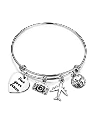 bobauna Live Your Dream Travel Bracelet with Earth Airplane Camera Charms Encouraging Gift