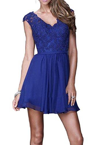 ivyd ressing Mujer Elegante Línea A de gasa. & Punta V de pico novia Ropa Fiesta Vestido Prom para vestido de noche Azul Real