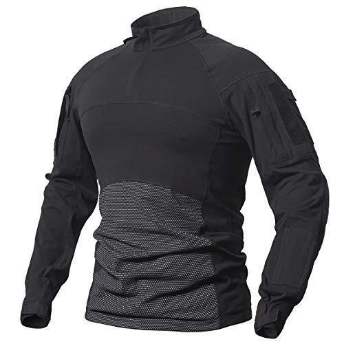 ReFire Gear Men's Tactical Military Combat Shirt Cotton Army Assault Camo Long Sleeve T Shirt (US X-Large, Black)